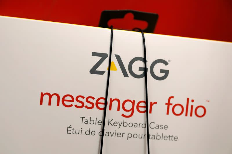 A box for a ZAGG Inc messenger folio is displayed in a store in Brooklyn, New York