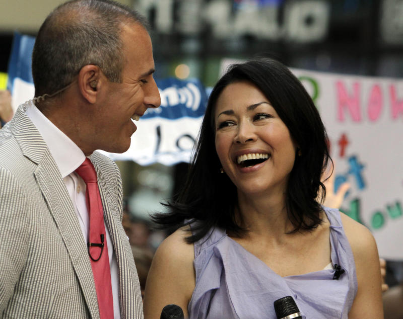 """FILE - In this July 22, 2011 file photo, NBC """"Today"""" television program co-hosts Matt Lauer and Ann Curry appear during a segment of the show in New York. A source with knowledge of the show who spoke on condition of anonymity because the source was not authorized to speak on the matter said Wednesday, June 20, 2012 that NBC is discussing a plan to ease Curry out of the co-hosting role. The New York Times first reported these discussions on Wednesday. (AP Photo/Richard Drew, File)"""