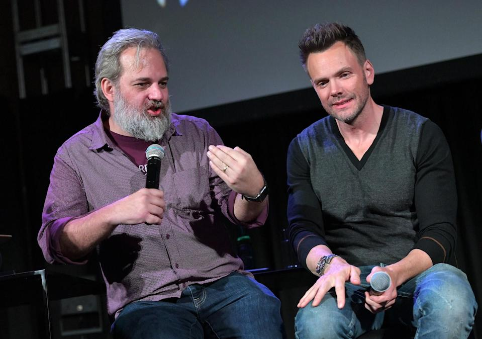 HOLLYWOOD, CALIFORNIA - NOVEMBER 10: Dan Harmon (L) and Joel McHale speak onstage at Vulture Festival Presented By AT&T at The Roosevelt Hotel on November 10, 2019 in Hollywood, California. (Photo by Charley Gallay/Getty Images for New York Magazine)