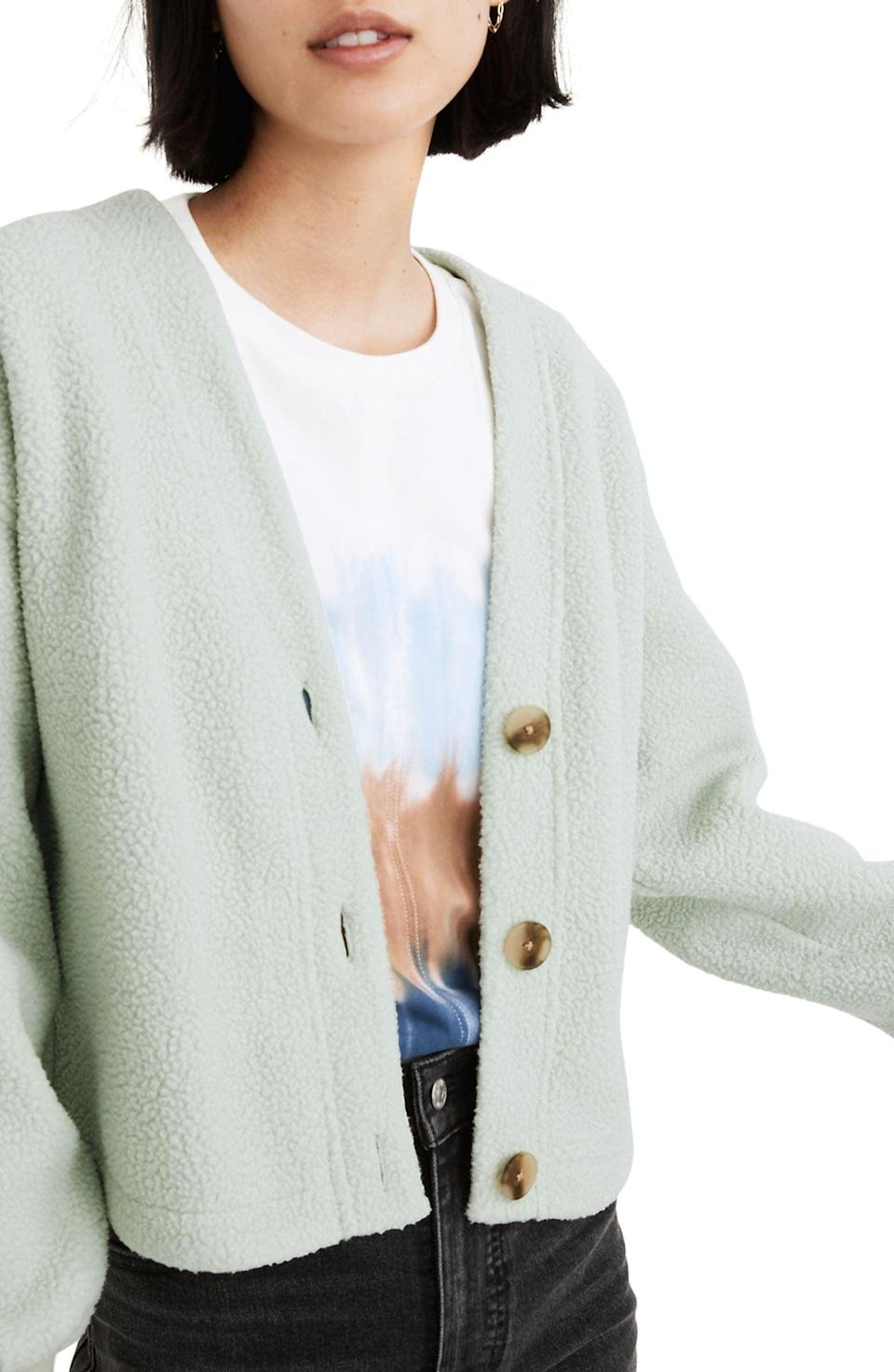 <p>This <span>Madewell (Re)sourced Faux Shearling Crop Cardigan</span> ($69, originally $98) is so cozy.</p>