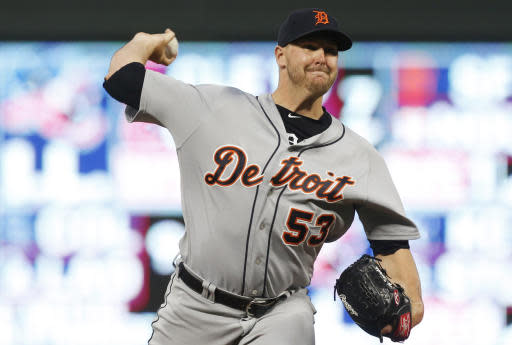 Detroit Tigers reliever Warwick Saupold throws duirng the fifth inning of the team's baseball game against the Minnesota Twins on Tuesday, May 22, 2018, in Minneapolis. (AP Photo/Jim Mone)