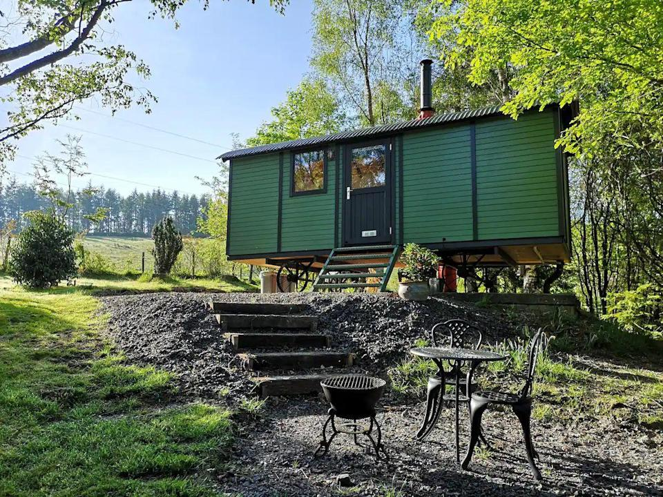 """<p>Glamping has never looked so good and at this shepherd's hut for two in Wales, you'll not only sleep in seclusion overlooking a wooded meadow, but have the company of two cuddly alpacas, too. There are all the comforts of home, including a double bed, log burner, TV and fully equipped bathroom, as well as fluffy towels for a luxury camping experience made for couples in love.</p><p><strong>Sleeps:</strong> Two</p><p><a class=""""link rapid-noclick-resp"""" href=""""https://airbnb.pvxt.net/QOK5AP"""" rel=""""nofollow noopener"""" target=""""_blank"""" data-ylk=""""slk:SEE INSIDE"""">SEE INSIDE</a></p>"""
