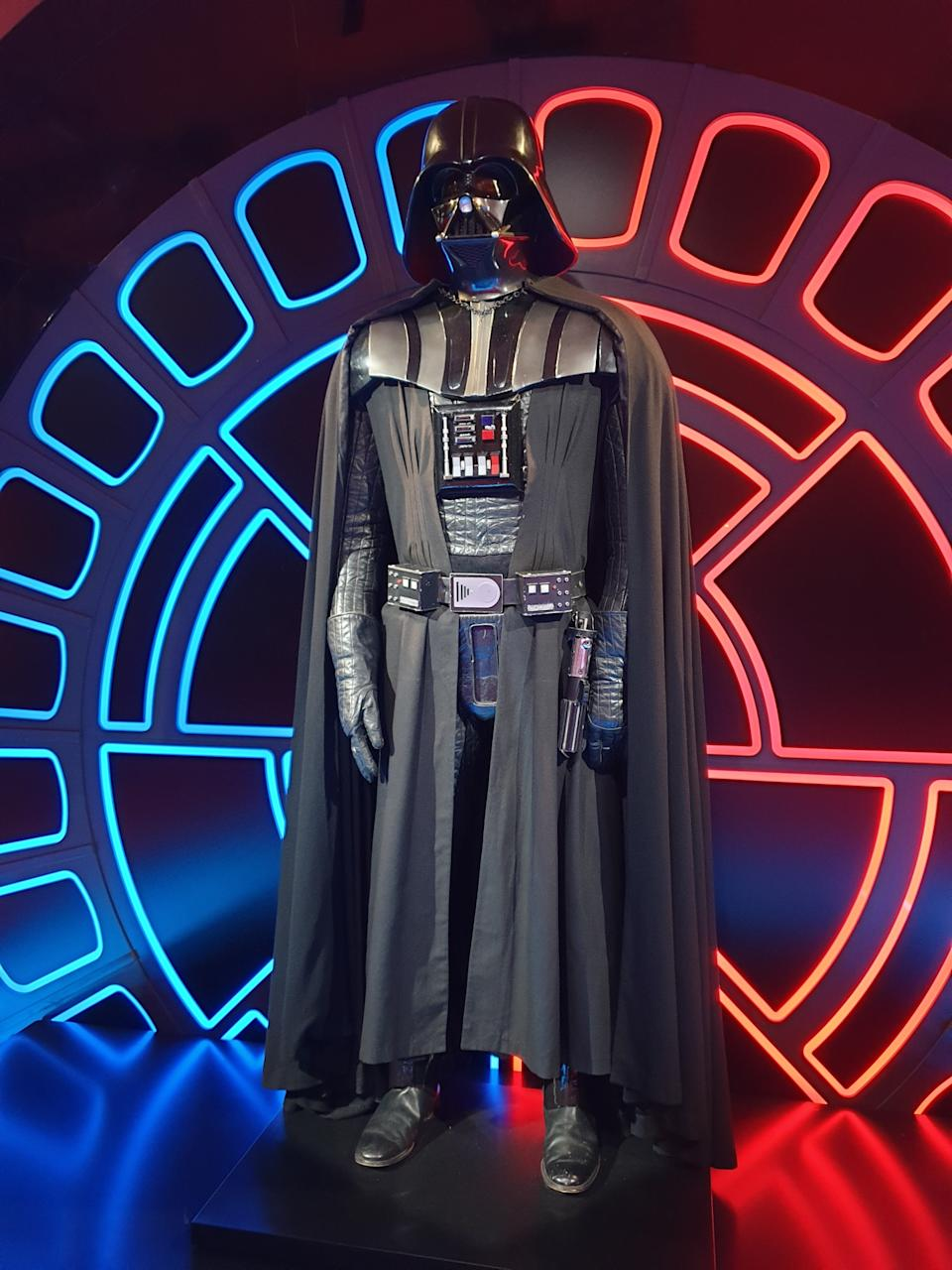Costume of Darth Vader worn by David Prowse at the Star Wars Identities exhibition in Singapore at the Artscience Museum. (Photo: Teng Yong Ping)