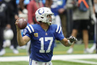 Indianapolis Colts quarterback Philip Rivers (17) throws during the first half of an NFL football game against the Cincinnati Bengals, Sunday, Oct. 18, 2020, in Indianapolis. (AP Photo/AJ Mast)