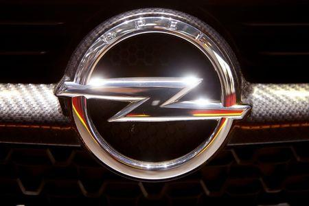 The logo of Opel is seen during the 87th International Motor Show at Palexpo in Geneva