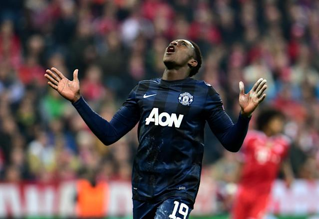 Manchester United's Danny Welbeck looks up during the Champions League quarterfinal second leg soccer match between Bayern Munich and Manchester United in the Allianz Arena in Munich, Germany, Wednesday, April 9, 2014. (AP Photo/Kerstin Joensson)