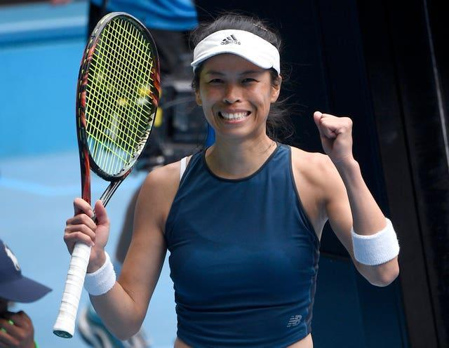 Hsieh Su-wei celebrates her win over Marketa Vondrousova