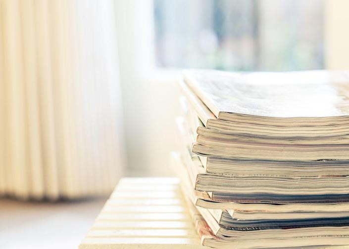 """<p>You love 'em, we love 'em, but your kitchen counter doesn't. Instead of keeping every magazine you've ever read, Phillip suggests cutting out recipes, workouts, or cleaning tips, and recycling the rest. His recommendation: Recycle anything older than two months — unless you haven't read it yet, of course. </p><p><a class=""""link rapid-noclick-resp"""" href=""""https://www.amazon.com/Simple-Houseware-Magazine-Holder-Organizer/dp/B06ZYJ3RW9/r?tag=syn-yahoo-20&ascsubtag=%5Bartid%7C10060.g.36311015%5Bsrc%7Cyahoo-us"""" rel=""""nofollow noopener"""" target=""""_blank"""" data-ylk=""""slk:SHOP MAGAZINE HOLDERS"""">SHOP MAGAZINE HOLDERS</a></p>"""