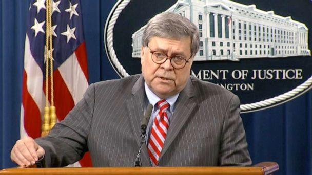 PHOTO: Attorney General William Barr speaks at the Justice Department in Washington, D.C., May 18, 2020. (ABC News)