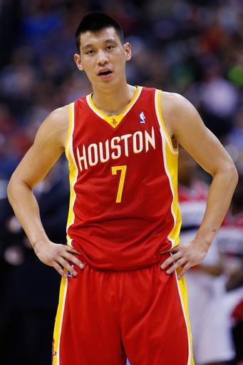 WASHINGTON, DC - FEBRUARY 23: Jeremy Lin #7 of the Houston Rockets looks on from the floor during the second half against the Washington Wizards at Verizon Center on February 23, 2013 in Washington, DC. (Photo by Rob Carr/Getty Images)