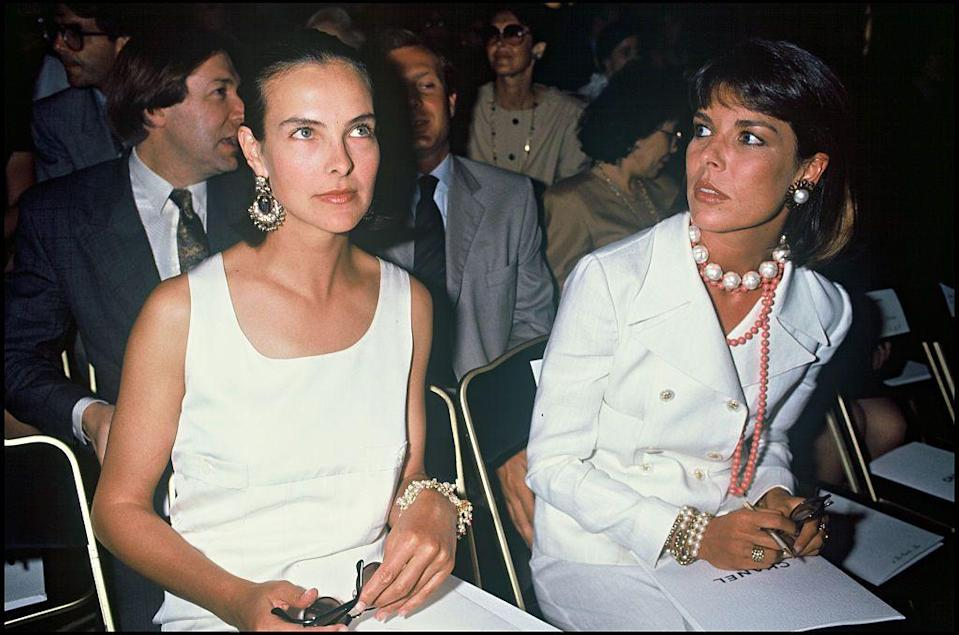 <p>Carole Bouquet and Princess Caroline, front row at the fall/winter collections later that year.</p>