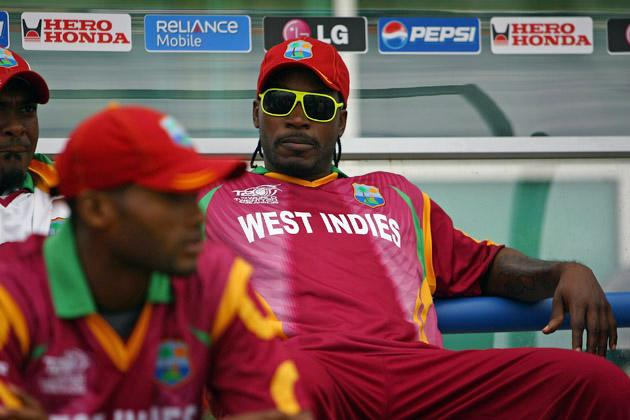 NOTTINGHAM, ENGLAND - JUNE 10:  Chris Gayle of West Indies looks on prior to the ICC World Twenty20 match between West Indies and Sri Lanka at Trent Bridge on June 10, 2009 in Nottingham, England.  (Photo by Matthew Lewis/Getty Images) *** Local Caption *** Chris Gayle