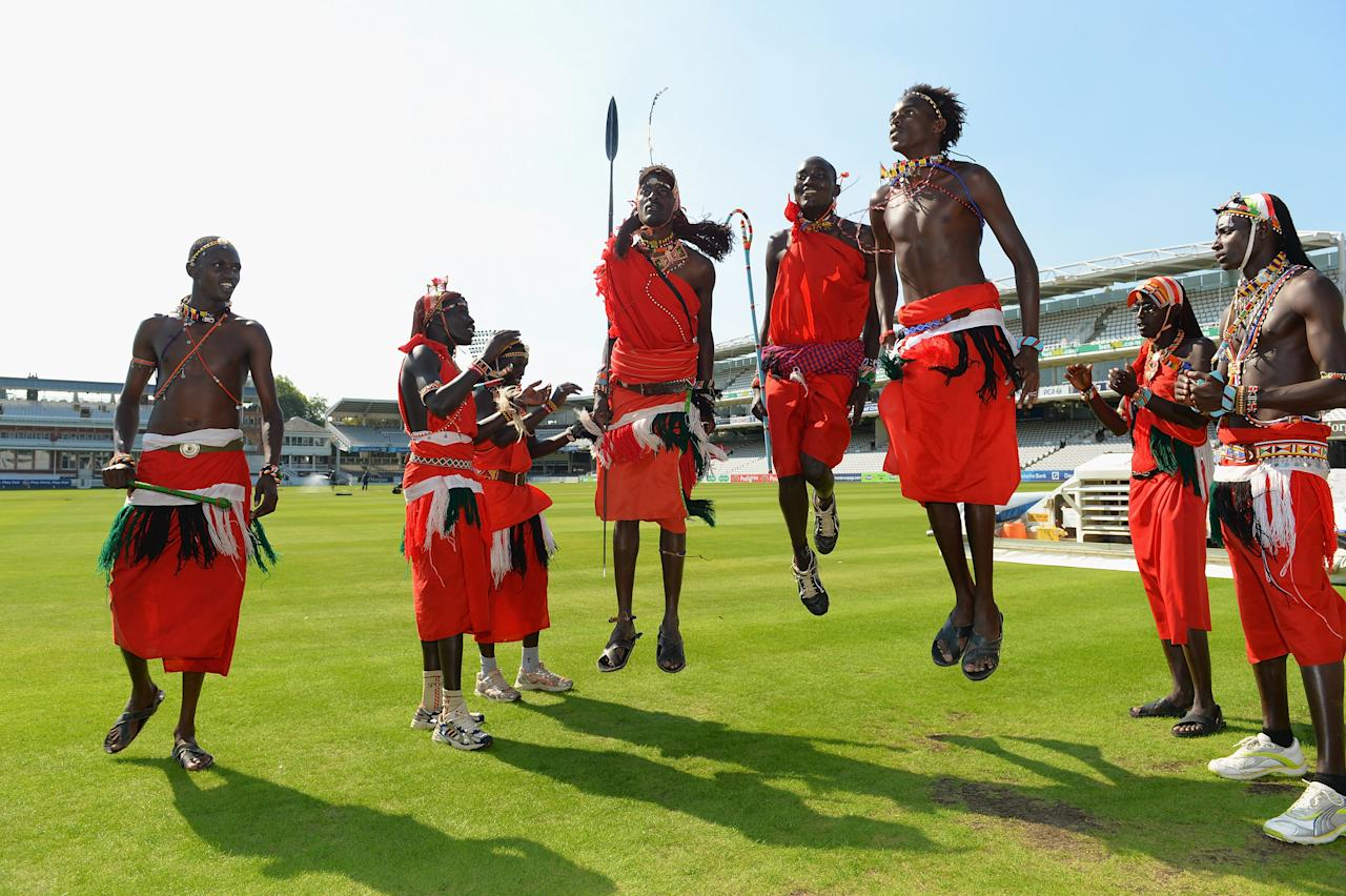 LONDON, ENGLAND - SEPTEMBER 04:  The Maasai Warriors Cricket Team perform a dance during the Last Man Standing Finals at Lords on September 4, 2013 in London, England.  (Photo by Christopher Lee/Getty Images)