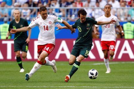 Soccer Football - World Cup - Group C - Denmark vs Australia - Samara Arena, Samara, Russia - June 21, 2018 Australia's Robbie Kruse in action with Denmark's Henrik Dalsgaard REUTERS/Michael Dalder