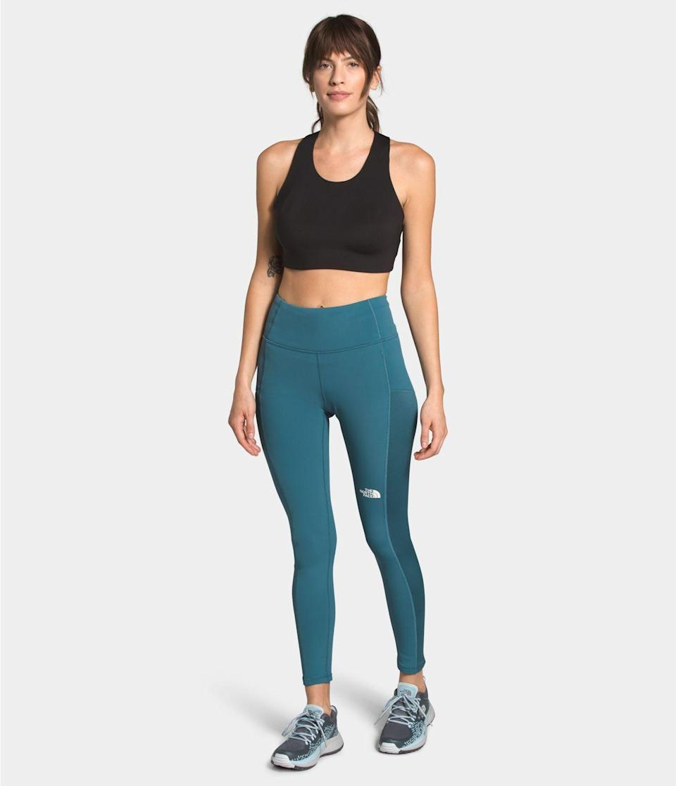 """<p><strong>The North Face</strong></p><p>thenorthface.com</p><p><strong>$89.00</strong></p><p><a href=""""https://go.redirectingat.com?id=74968X1596630&url=https%3A%2F%2Fwww.thenorthface.com%2Fshop%2Fwomens-winter-warm-high-rise-tights-nf0a3x4i%3Ffrom%3DsubCat%26variationId%3DQ31%26gclid%3DEAIaIQobChMIj82JsaXG7AIVAfSzCh1YFwTrEAQYAiABEgIeDvD_BwE%26gclsrc%3Daw.ds&sref=https%3A%2F%2Fwww.seventeen.com%2Ffashion%2Fg34440479%2Fbest-winter-leggings%2F"""" rel=""""nofollow noopener"""" target=""""_blank"""" data-ylk=""""slk:Shop Now"""" class=""""link rapid-noclick-resp"""">Shop Now</a></p><p>Designed for hiking, running and training, these moisture-wicking, high-rise tights are made with brushed back Winter Warm fabric so you can enjoy the great outdoors longer than ever. Side pockets allow you to store your phone or cash and a zip pocket on the left thigh provides secure storage for your keys. </p>"""