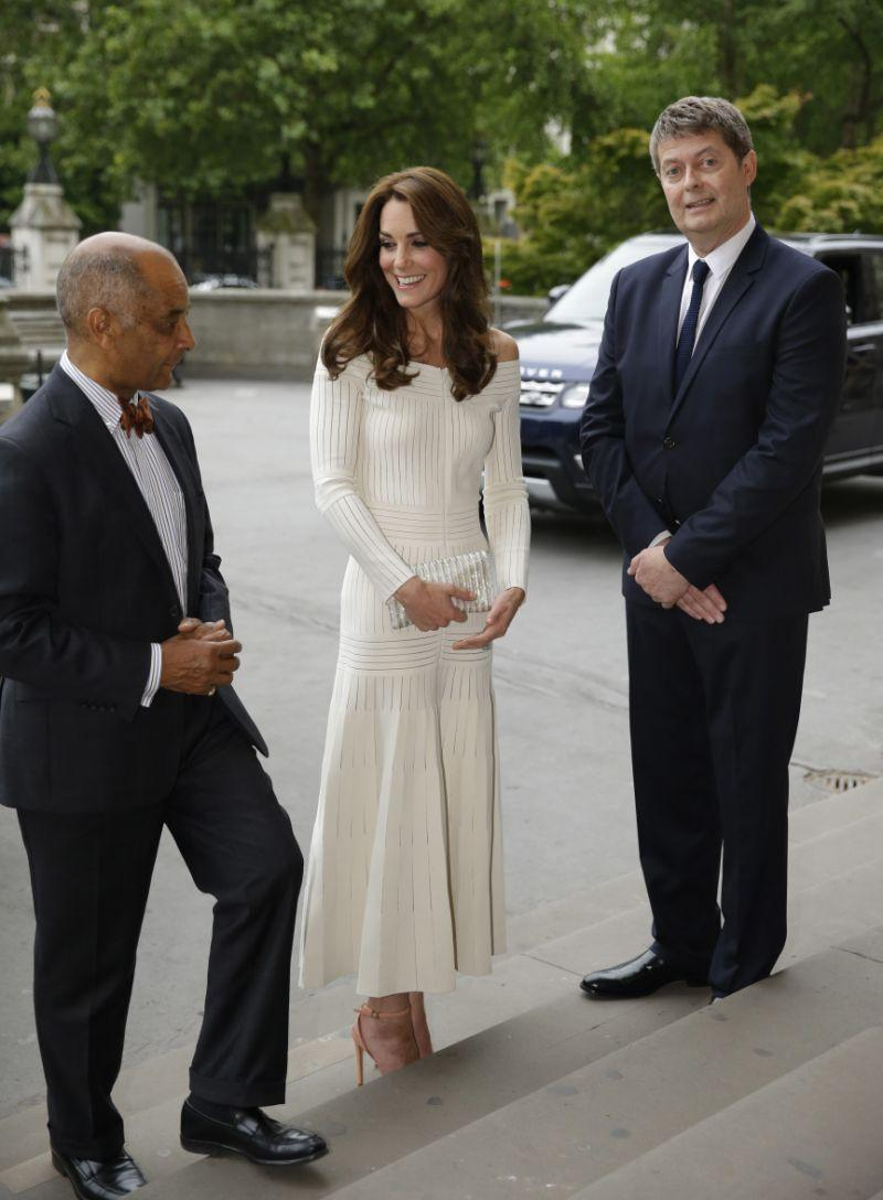 The Duchess of Cambridge smiles in a Barbara Casasola dress