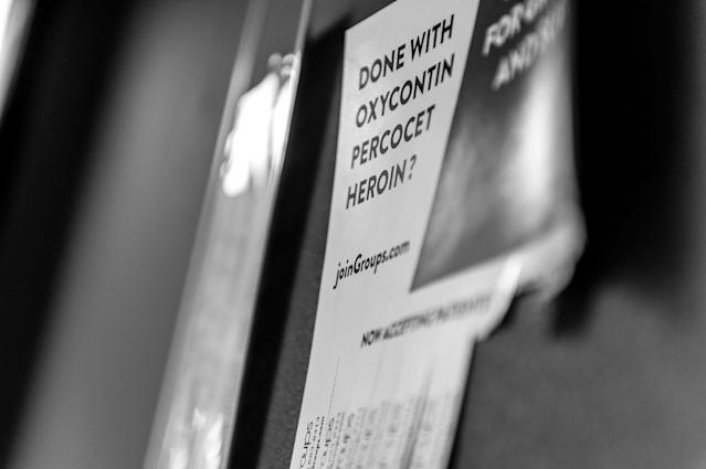 <p>A posting hangs from a bulletin board with contacts for drug counseling at Groups in Middletown, Ohio.<br> (Photograph by Mary F. Calvert for Yahoo News) </p>
