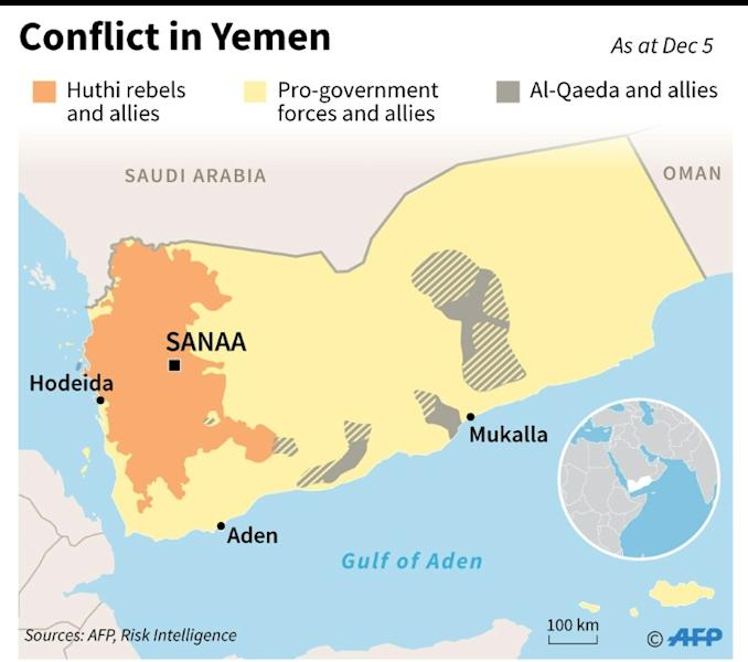 Map showing territorial control in Yemen as of December 5
