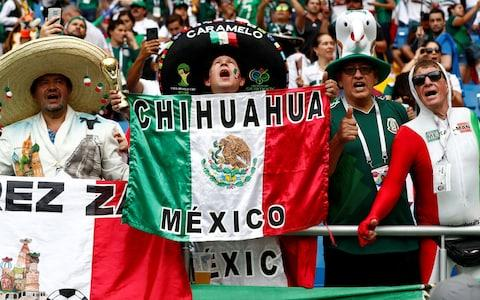 Mexico fans in Rostov-on-Don - Mexico edge towards last 16 at World Cup after Carlos Vela and Javier Hernandez all but end South Korea hopes - Credit: REUTERS