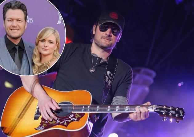 Eric Church performs onstage during the Academy of Country Music concerts on Fremont at the Fremont Street Experience in Las Vegas on March 30, 2012 / inset: Blake Shelton and Miranda Lambert -- Getty Premium