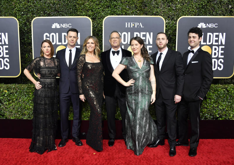 BEVERLY HILLS, CALIFORNIA - JANUARY 05: (L-R) Samantha Bryant, Colin Hanks, Rita Wilson, Tom Hanks, Elizabeth Ann Hanks, Chet Hanks, and Truman Theodore Hanks attend the 77th Annual Golden Globe Awards at The Beverly Hilton Hotel on January 05, 2020 in Beverly Hills, California. (Photo by Frazer Harrison/Getty Images)