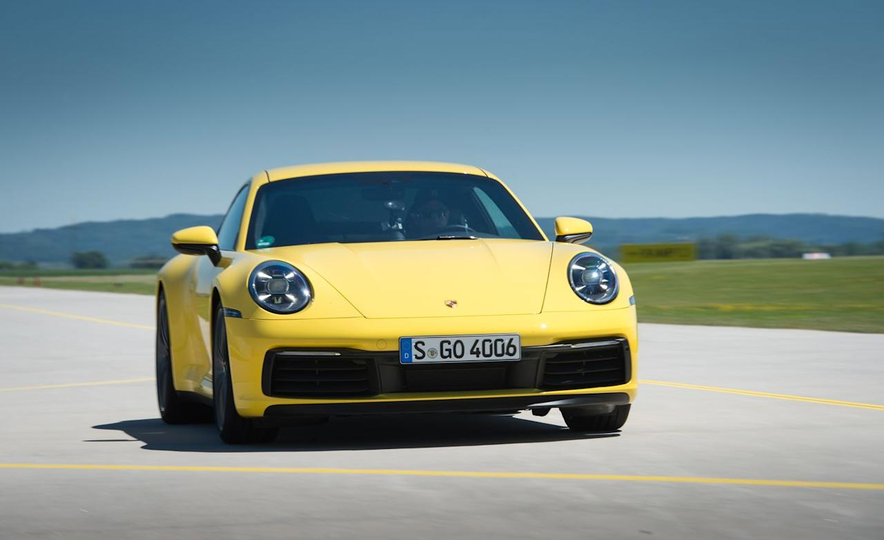 "<p>While neck-achingly impressive, the acceleration numbers are identical to <a href=""https://www.caranddriver.com/reviews/a15076891/2017-porsche-911-carrera-gts-pdk-automatic-test-review/"" target=""_blank"">the previous-generation 911 GTS</a> (991.2) with its PDK, also a seven-speed dual-clutch automatic.</p>"