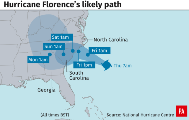 <em>The path that Hurricane Florence is likely to take (PA)</em>