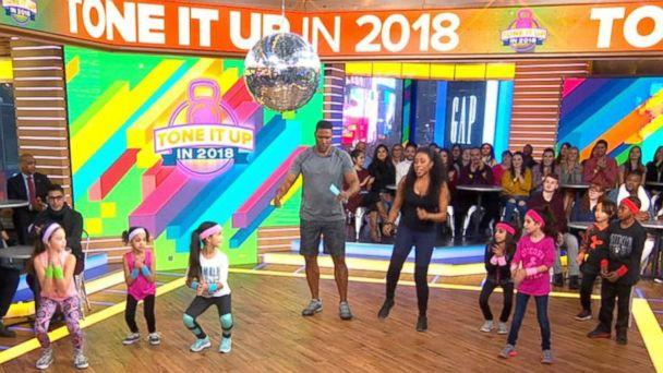PHOTO: Celebrity trainer Latreal Mitchell shares exercises for kids on 'Good Morning America,' Jan. 12, 2018. (ABC News)