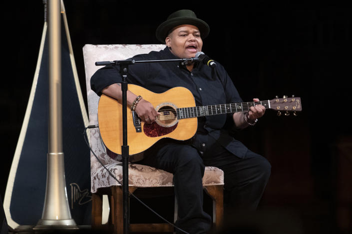 Musician Toshi Reagon performs during the Celebration of the Life of Toni Morrison, Thursday, Nov. 21, 2019, at the Cathedral of St. John the Divine in New York. Morrison, a Nobel laureate, died in August at 88. (AP Photo/Mary Altaffer)