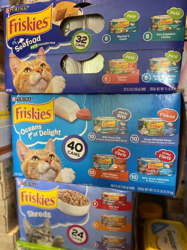 Donations of pet food are seen at the South Shore Pet Food Pantry near Boston
