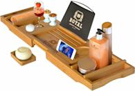 <p>I mean, how cool is this? Now you can read in the tub without worrying about drowning your reading material, thanks to this <span>Royal Craft Wood Luxury Bathtub Caddy Tray</span> ($50). You can also bring in drinks and snacks, because self care.</p>