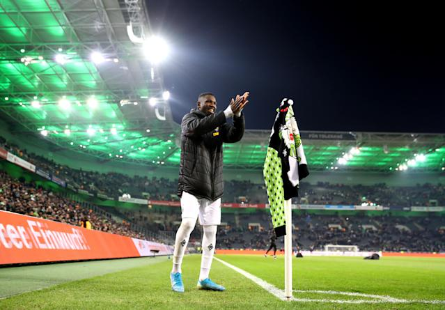 Will Marcus Thuram and Borussia Monchengladbach be smiling after the Bayern Munich match this weekend? (Photo by Lars Baron/Bongarts/Getty Images)