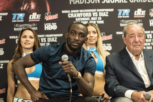 Former undisputed super lightweight champion Terence Crawford will challenge Jeff Horn for the WBO welterweight title on June 9 at the MGM Grand in Las Vegas as part of the ESPN+ streaming service. (Getty Images)