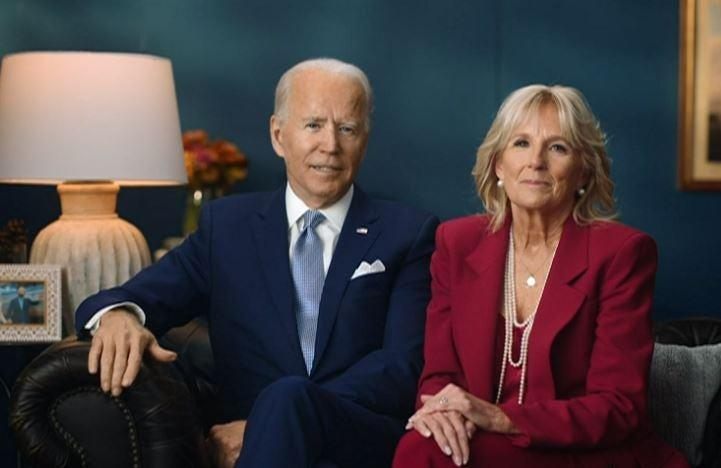 <p>President-elect Joe Biden and his wife Jill Biden send a Thanksgiving address calling for Americans to sacrifice their large gatherings for the sake of their neighbors</p> (Twitter)