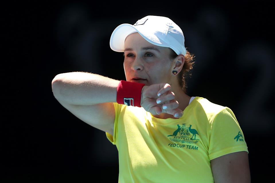 Ash Barty looks on during a practice session ahead of the 2019 Fed Cup Final between Australia and France at the RAC Arena on November 08, 2019 in Perth, Australia.