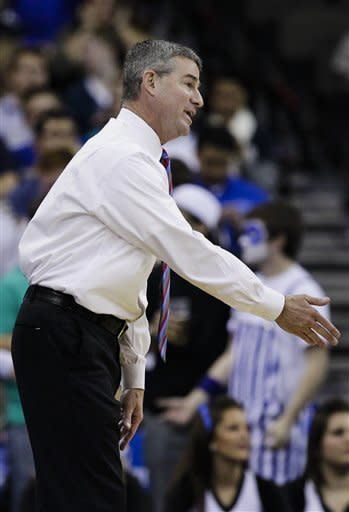 Boise State coach Leon Rice directs his players in the first half of an NCAA college basketball game against Creighton in Omaha, Neb., Wednesday, Nov. 28, 2012. (AP Photo/Nati Harnik)