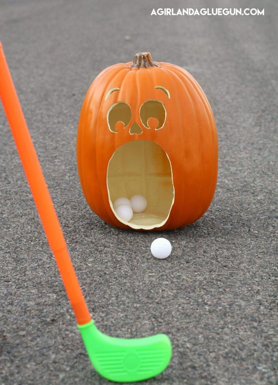"<p>Fore! The whole family can practice their putting prowess with this golf game.</p><p><strong>Get the tutorial at <a href=""http://eighteen25.com/2016/09/pumpkin-golf-halloween-games/"" rel=""nofollow noopener"" target=""_blank"" data-ylk=""slk:Eighteen 25"" class=""link rapid-noclick-resp"">Eighteen 25</a>.</strong></p><p><a class=""link rapid-noclick-resp"" href=""https://www.amazon.com/StarQualityBargain-JackoLantern-Decorations-Waterproof-Halloween/dp/B07G2H1P45/?tag=syn-yahoo-20&ascsubtag=%5Bartid%7C2139.g.34440360%5Bsrc%7Cyahoo-us"" rel=""nofollow noopener"" target=""_blank"" data-ylk=""slk:SHOP FAUX PUMPKINS"">SHOP FAUX PUMPKINS</a><br></p>"