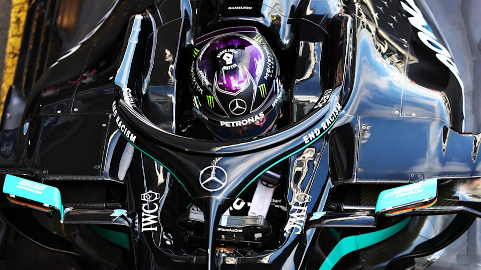 NUERBURG, GERMANY - OCTOBER 10: Second placed qualifier Lewis Hamilton of Great Britain and Mercedes GP stops in parc ferme during qualifying ahead of the F1 Eifel Grand Prix at Nuerburgring on October 10, 2020 in Nuerburg, Germany. (Photo by Dan Istitene - Formula 1/Formula 1 via Getty Images)