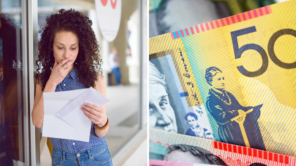 Woman looks at report while standing outside, close image of Australian $50 note.