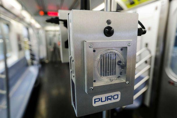 PHOTO: A UV-C lighting device to be used to disinfect trains and buses during the coronavirus pandemic is shown on a subway car at the MTA Corona Maintenance Facility, May 19, 2020, in the Queens borough of New York. (Frank Franklin II/AP)