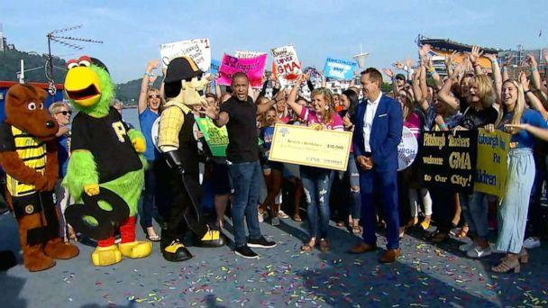 PHOTO: Megs Yun, the founder of Beverly's Birthdays, received a $10,000 donation live on 'Good Morning America.' (ABC)