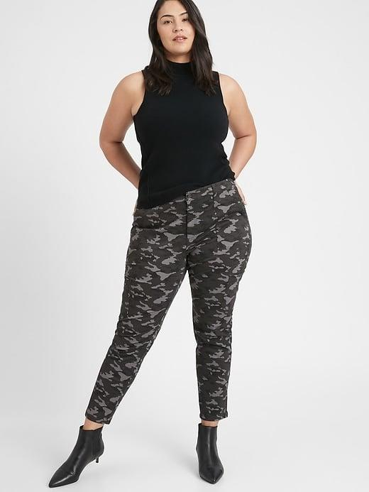 <p>More comfortable than jeans, try these printed <span>Banana Republic Mid-Rise Skinny Cargo Chino</span> ($71, originally $90) to jazz up a black sweater and boot combo.</p>