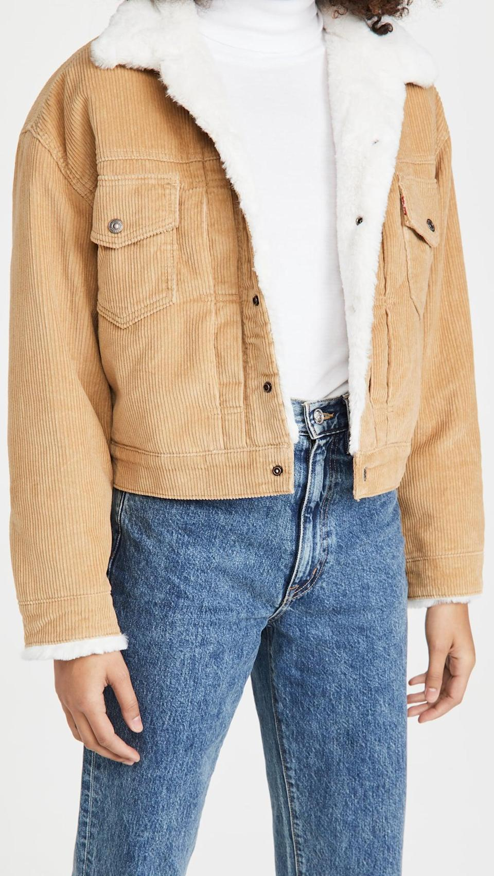 <p>This <span>Levi's New Heritage Cord Trucker Jacket</span> ($128, plus use code FALL20) looks great with graphic tees.</p>