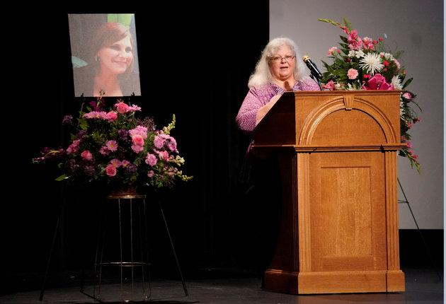 Susan Bro, Heyer's mother, speaks during her service.