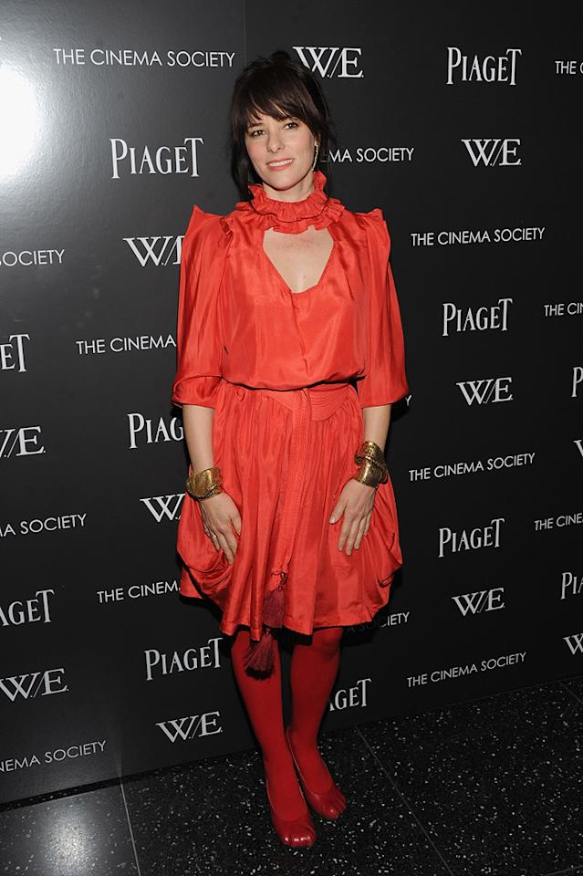 """Unless you're say Elmo, head-to-toe red rarely works for the red carpet, but that didn't stop Parker Posey from rocking the look to the New York screening of """"W.E."""" on December 4, 2011."""