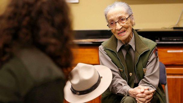PHOTO: National Park Ranger Betty Reid Soskin talks with visitors after greeting visitors at the the Rosie the Riveter/World War II Home Front National Historical Park in Richmond, Calif., Jan. 15, 2020. (East Bay Times via Getty Images, FILE)