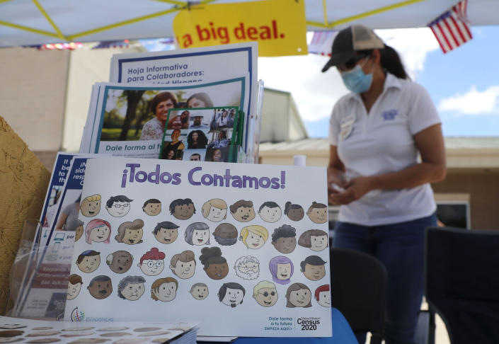 A children's book is displayed at a U.S. Census walk-up counting site set up for Hunt County in Greenville, Texas, Friday, July 31, 2020. (AP Photo/LM Otero)