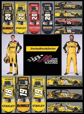 2021 driver and car line up for Stanley Black & Decker. Christopher Bell on the left and Martin Truex Jr. on the right.