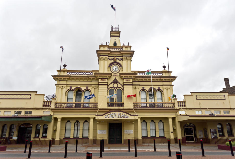 Glen Innes town hall is pictured.