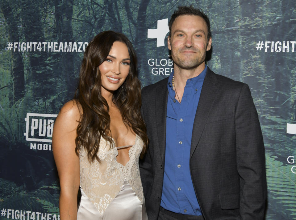 LOS ANGELES, CALIFORNIA - DECEMBER 09: Megan Fox (L) and Brian Austin Green attend the PUBG Mobile's #FIGHT4THEAMAZON Event at Avalon Hollywood on December 09, 2019 in Los Angeles, California. (Photo by Rodin Eckenroth/Getty Images)